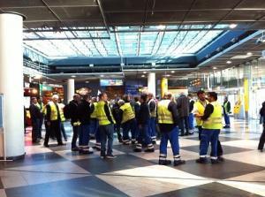 Verdi-Mitglieder beim Streik