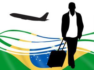 Brasilienflagge mit Passagier