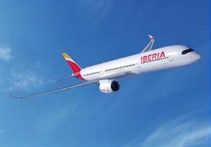 Das neue A350er-Modell von Airbus in Iberia-Lackierung