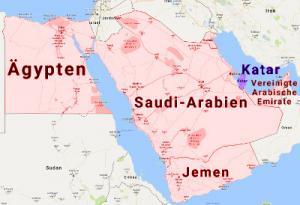 Karte Flugverbot Arabisch Halbinsel