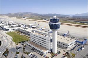 Flughafen Athen Tower und Rollfeld
