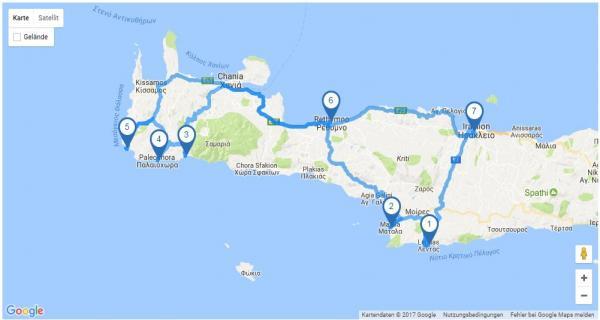 Griechenland Rundreise: Map Kreta